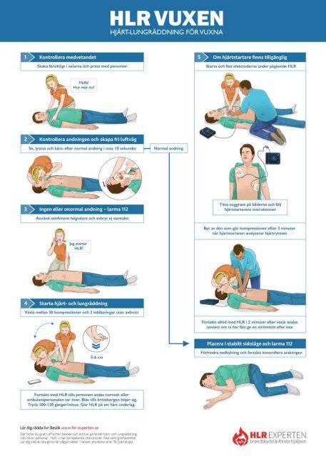 HLR affisch - Bilden visar handlingsplanen för vuxen HLR - Illustration: Wasim Hentati tel. 070-2736853 - HLR Experten