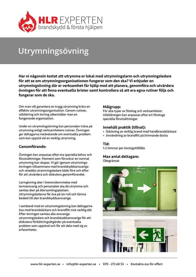 Faktablad för utrymningsövning med HLR Experten - Illustration: Wasim Hentati tel. 070-2736853 - HLR Experten