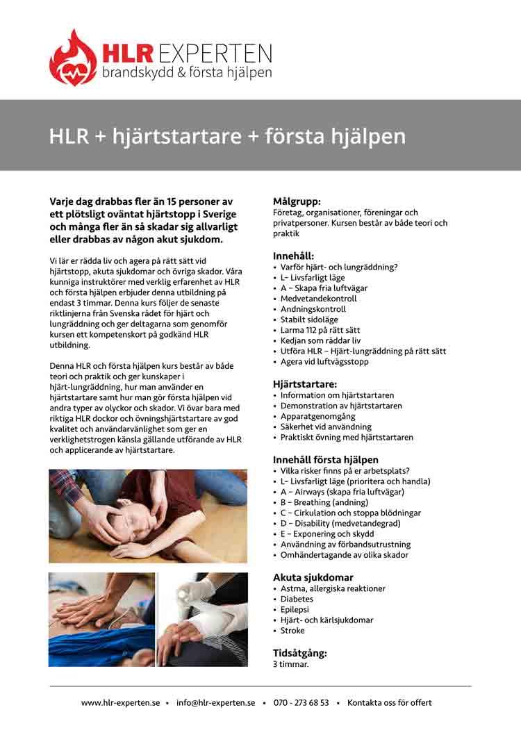 Faktablad för Vuxen HLR utbildning med första hjälpen via HLR Experten - Illustration: Wasim Hentati tel. 070-2736853 - HLR Experten