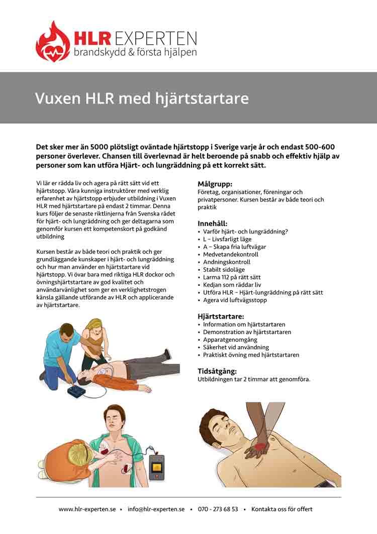 Faktablad för Vuxen HLR utbildning med HLR Experten - Illustration: Wasim Hentati tel. 070-2736853 - HLR Experten