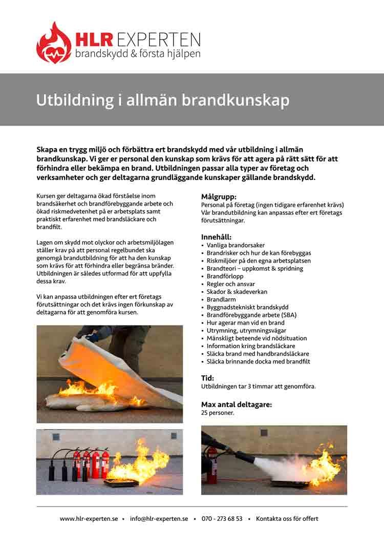 Faktablad för brandutbildning med HLR Experten - Illustration: Wasim Hentati tel. 070-2736853 - HLR Experten