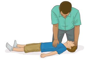 Barn HLR utbildning, hjärt och lungräddning, - Handplacering vid HLR på barn - Illustration: Wasim Hentati tel. 070-2736853 - HLR Experten