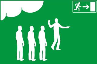 utrymningsledare - HLR experten - Illustration: Wasim Hentati tel. 070-2736853