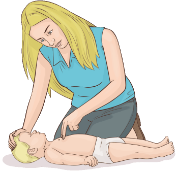 Barn HLR - Korrekt handplacering vid barn HLR - Illustration: Wasim Hentati tel. 070-2736853 - HLR Experten
